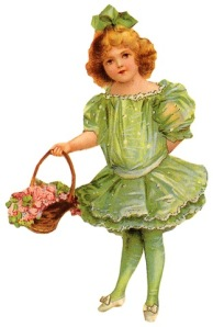 free-vintage-children-clip-art-green-dress-and-bow-flower-basket
