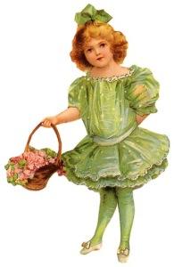 free-vintage-children-clip-art-green-dress-and-bow-flower-basket